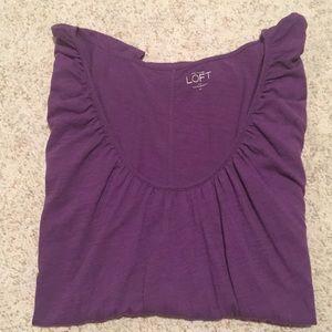 Loft M Dressy Purple Scoop Neck women's  t-shirt